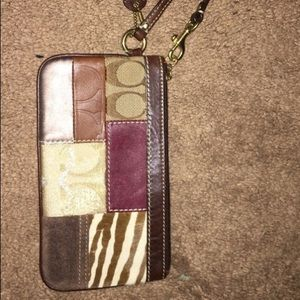 Coach patchwork leather wristlet